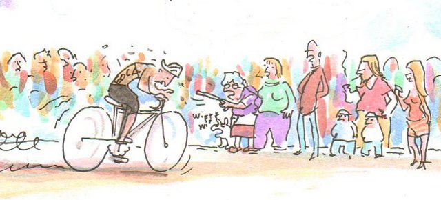 Warum Tour de France schauen / Zeichnung: Joel Cairo / www.fahrradjournal.de